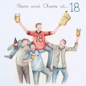 Wenskaart Beers and Cheers at 18 - Berni Parker Design