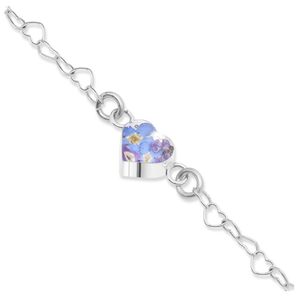 Armband zilveren hartjes schakels en Purple Haze hartje